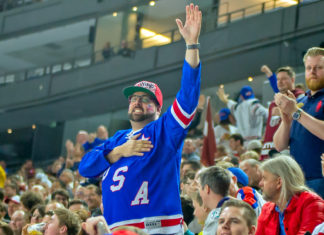 Amerikans supporter efter matchen mot Lettland under förra årets VM i Köln, Tyskland.