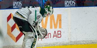 Färjestads målvakt Arvid Holm i matchen mot Djurgården på Hovet